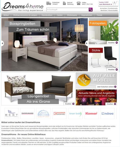 Relaunch – Deutscher Online-Living-Shop Dreams4Home im neuen Look & Feel
