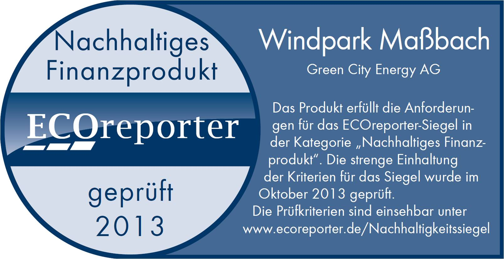 Windpark Maßbach von Green City Energy erhält Nachhaltigkeitssiegel von ECOreporter