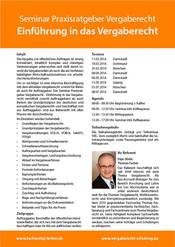 Seminar Praxisratgeber Vergaberecht - Einführung in das Vergaberecht