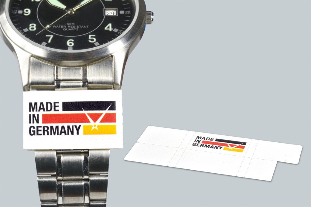 """Etiketten """"Made in Germany"""" für Uhren und Schmuck"""